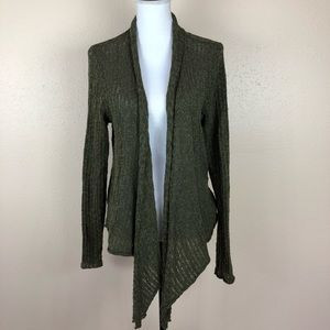 NWT Lucky Brand Olive Green Open Front Sweater M